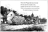 Wagon loaded with sacks of corn on the road to a flour mill