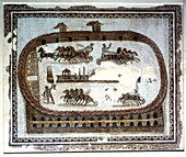 Chariot race in the arena, Roman mosaic, 2nd century