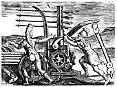 Roman soldiers using a war engine firing multiple arrows