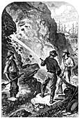 Gold mining, California, USA, c1868