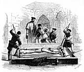 Torturing a prisoner on the rack, Middle Ages