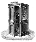 Making a call from a telephone call box, 1888