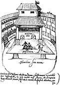 Interior of the Swan Theatre, Bankside, London, 1596