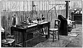 A corner of Pierre and Marie Curie's laboratory, Paris, 1904