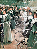 Society ladies cycling in Hyde Park, London, 1896