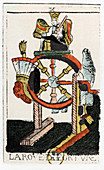 Tarot card of The Wheel of Fortune, Noblet Tarot