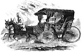 Florence Nightingale in her carriage in the Crimea, 1856