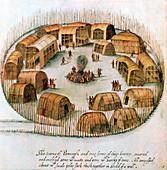 Native American Algonquin Indian village, 1585