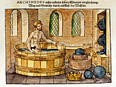 Archimedes in his bath, 1547