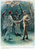 Henry Morton Stanley, Welsh explorer, meeting Emin Pasha