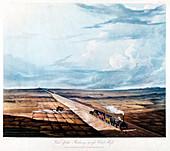 Train crossing Chat Moss, Lancashire, 1831