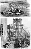 Construction of the Brooklyn Bridge, New York, USA