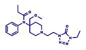 Alfentanil opioid analgesic drug molecule