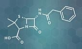 Penicillin G antibiotic drug molecule