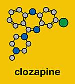 Clozapine atypical antipsychotic drug molecule