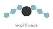 Lead azide detonator explosive molecule