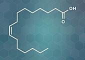 Palmitoleic acid omega-7 fatty acid molecule