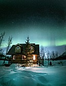 Alaskan cabin and the Aurora Borealis