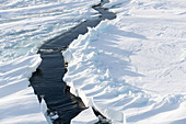 Icebreaking trail through Antarctic sea ice