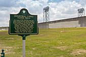 Marker where flood wall failed during Hurricane Katrina