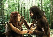 Neanderthal and human encounter, illustration
