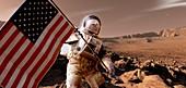 Astronaut planting US flag on Mars, illustration