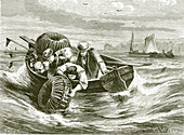 Fishing for lobsters and crabs, 19th century