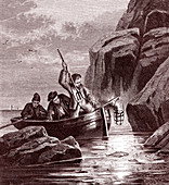 Fishing at night using lamps, 19th century