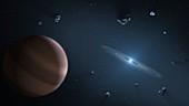 Exoplanet orbiting a white dwarf, illustration