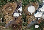 Okjokull dead glacier, satellite images