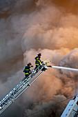 Fire fighting, Detroit, USA