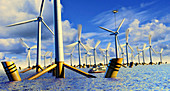 Offshore wind turbines, illustration