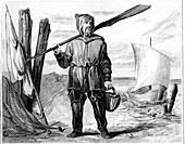 Fisherman, historical illustration