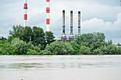 Flood waters near industrial complex