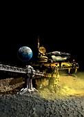 Spaceship on Moon, illustration