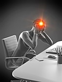 Office worker with headache, conceptual illustration