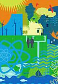 Environmental issues, illustration