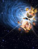 Planets exploding, illustration