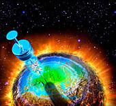Syringe injecting globe with cash, illustration
