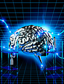 Scientists examining wired human brain, illustration
