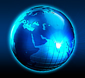 Blue globe with light beams shining from India, illustration