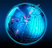 Blue globe with bright lights focused on Japan, illustration