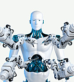 Robotic arms with tools around android, illustration