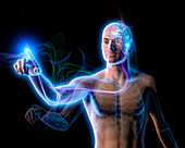Energy flowing from cogs in man's brain, illustration