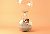 Businesswoman doll drowning in hourglass, illustration