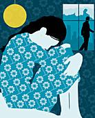 Woman hugging knees on bed, illustration
