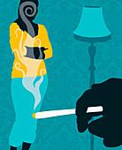 Woman watching man smoke marijuana cigarette, illustration