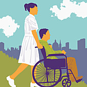Nurse pushing patient in city park, illustration
