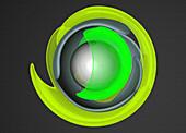 Concentric fluorescent shapes, illustration
