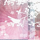 Bird sitting in tree, illustration